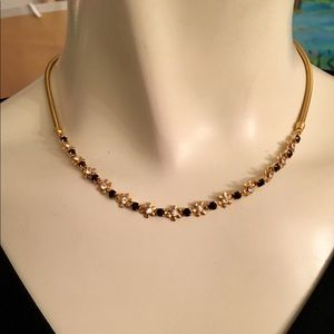 Jewelry - Beautiful Black & Gold Clear Crystal Necklace